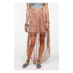 Ecoté Urban Outfitters Silk High Low Paisley Skirt